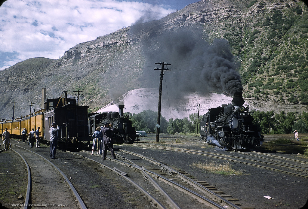 In this great view from July of 1958, railfans and tourists alike enjoy catching a glimpse of K-28 #476.  Note that it is sporting the fake balloon stack while #473 in the background is yet to receive one of its own.