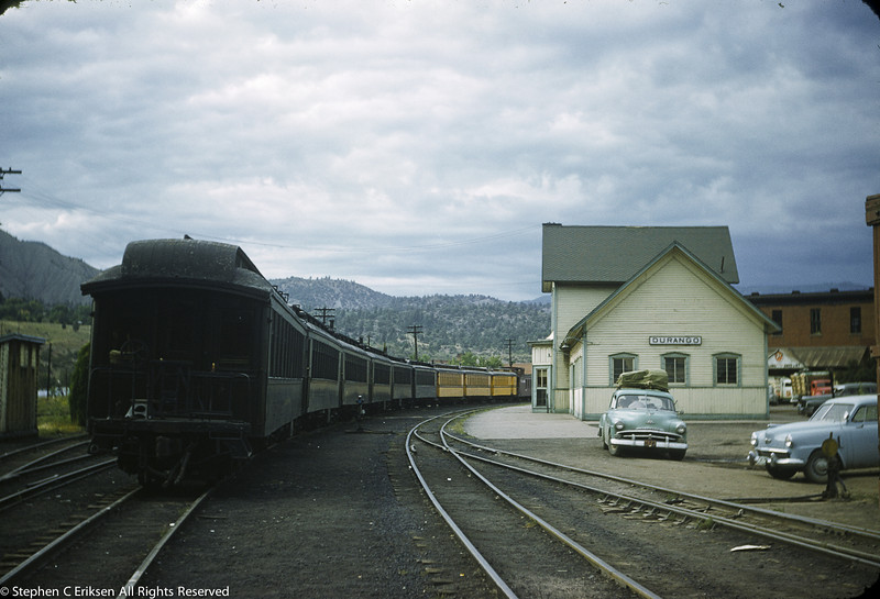 In this 1950's view of Durango, the Silverton is a mix of Rio Grande Gold and Pullman Green.  Note the paint scheme on the Durango depot compared to today's scheme.