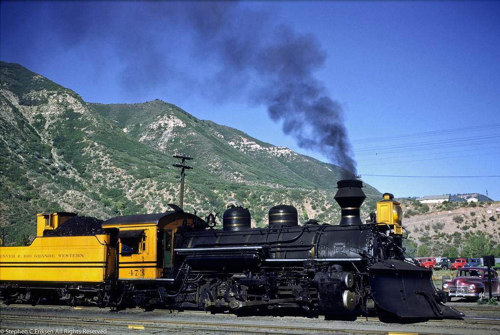 "K-28 #473 still sports the ""Bumble Bee"" paint scheme in June of 1951 as shown here in Durango."
