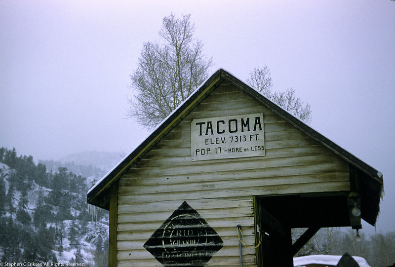 Amusing sign on a cold day at the Tacoma shelter along the Silverton line.  Over the years the population varied, at one point it was down to just 9.  This shot is from the 1950's.