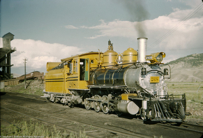 It is August of 1952 and C-16 #268 looks sharp in its special silver and gold paint scheme at Gunnison.  Today, #268 survives and has been painted in a similar scheme protected from the elements by a shelter.