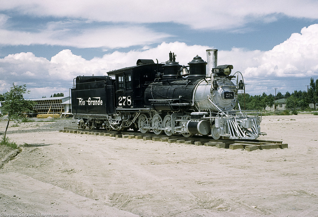 This shot shows D&RGW C-16 #278 as originally displayed in Montrose in 1953.  Soon after this shot a caboose was added to the display.