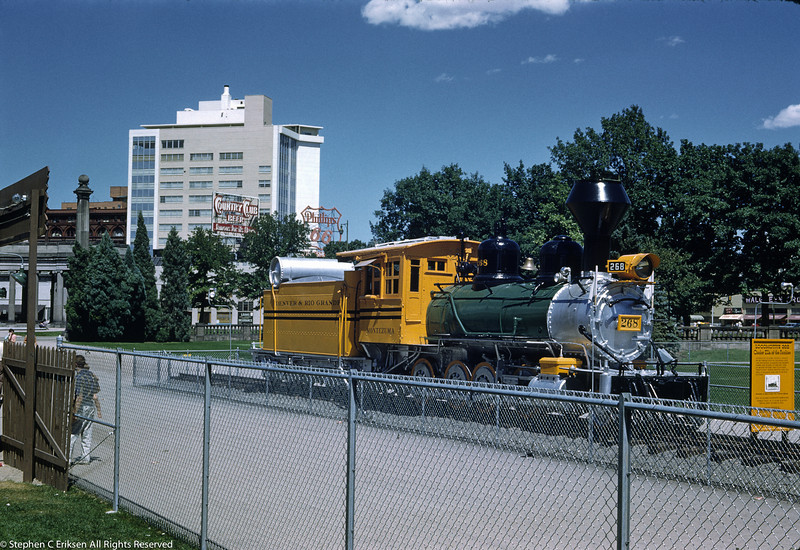 """""""Cinder Ella of the Rockies"""" is the nomenclature associated with C-16 #268 in this view of her on display in Denver in the late 50's at the newly created Pioneer Village"""