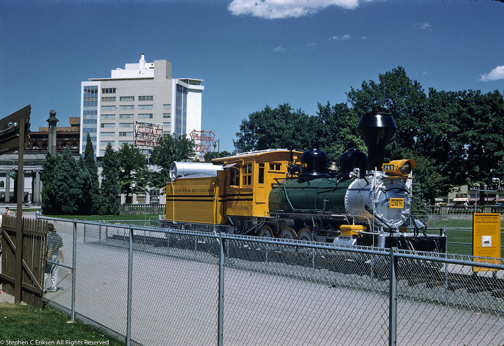 """Cinder Ella of the Rockies"" is the nomenclature associated with C-16 #268 in this view of her on display in Denver in the late 50's at the newly created Pioneer Village"