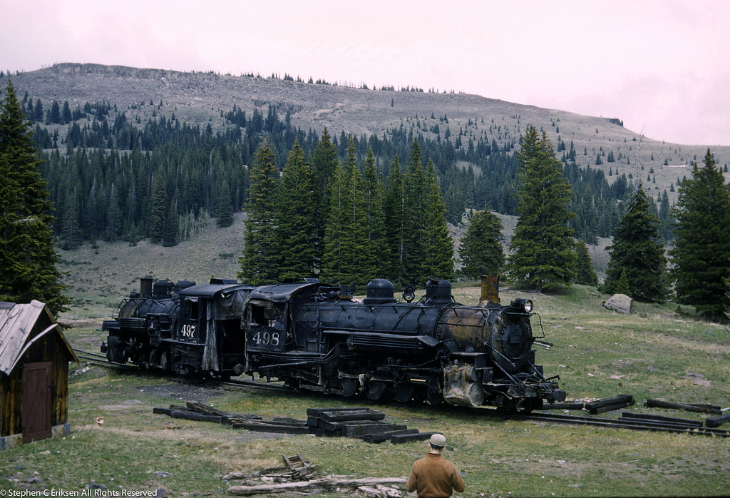 Two wrecked K-37's sit forlornly at Cumbres in August of 1960.
