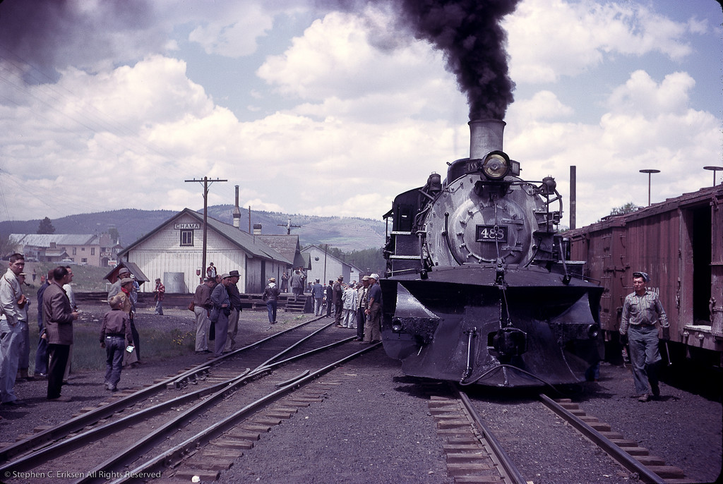 This shot has lots of great atmosphere with the combination of railfans and workers hovering around K-36 #488.  This shot was taken of a special train that ran May 27th, 1961.