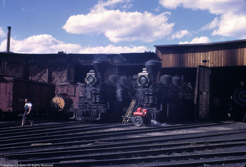 Another view of the movie makeup including smokestack shrouds and box headlights applied to the K-28's in Durango in October of 1968.