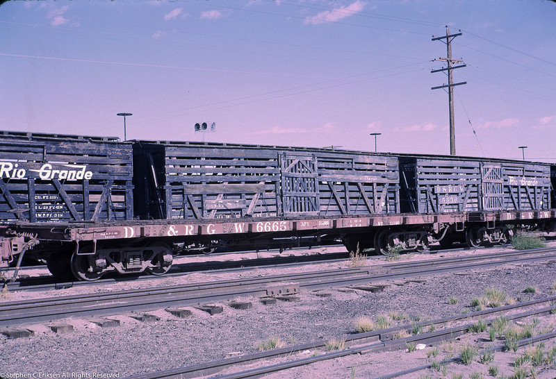 Flat #6665 is pictured in Alamosa in front of a string of narrow gauge stock cars, September 1966.