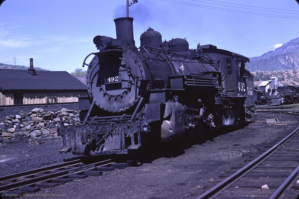 Lots of steam on display in this view. K-37 #492, K-36 #484, and K-27 #464 are all basking in the sun in this August 1964 view by Richard Cerne.