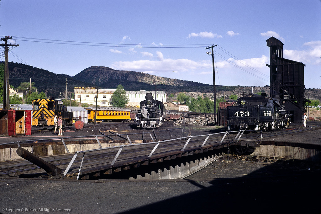 In this interesting view one can see K-28s #473 and 478, diesel #50, and the Durango coaling tower just beyond the turntable.  If only we could roam the yards freely like we could on this day in June of 1972!