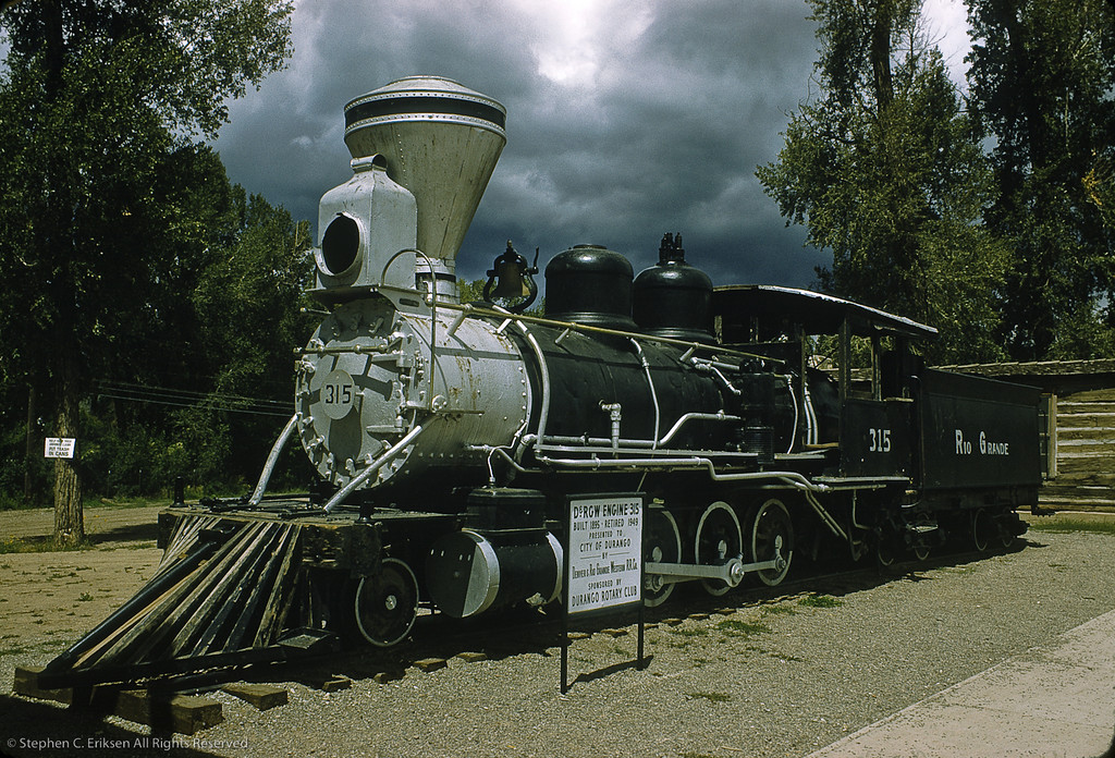 This shot from September of 1961 shows C-18 #315 in repose next to the Durango Chamber of Commerce where it sat for many years before being brought back to operable condition by a dedicated group of volunteers.