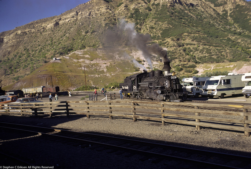 """In August of 1962, the Winnebagos are lined up next to the tracks to ride the famous """"Silverton""""."""