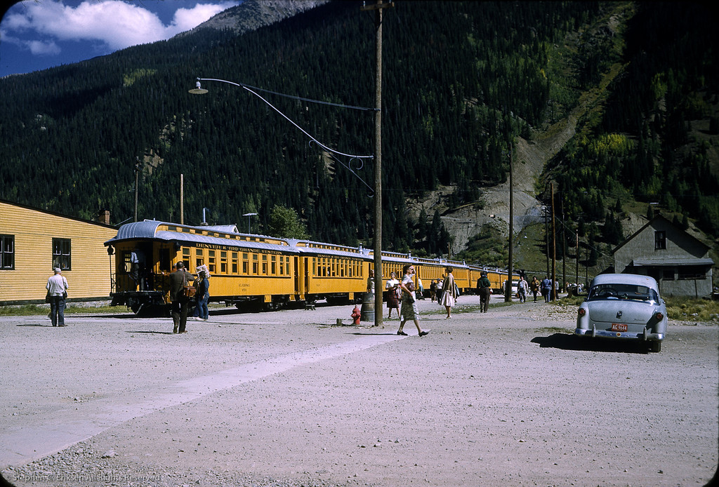 "The ""Silverton"" train sports the Alamosa on the rear and is ready to depart in this September 1961 view."