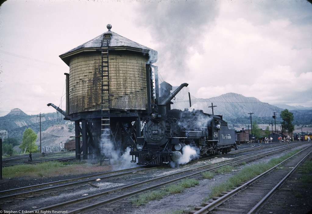 #480 next to the Durango water tower on June 7th, 1960.