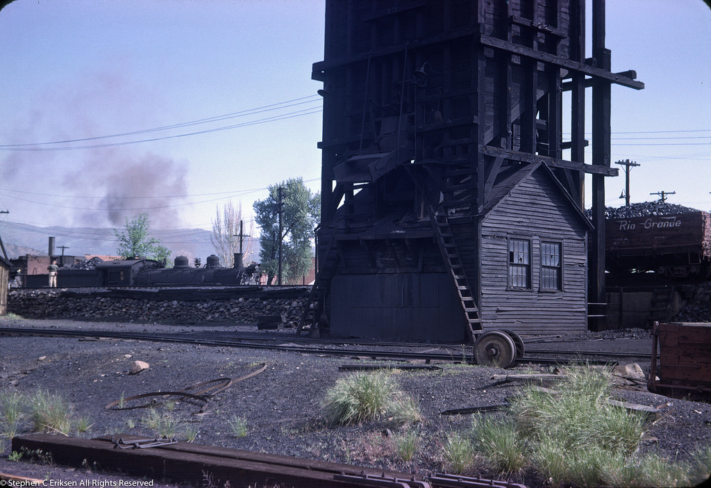 Closeup of  the Durango coaling tower in June of 1963.