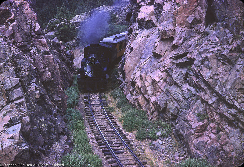 #473 pulls the Silverton through the Rockwood cut, August 1964.