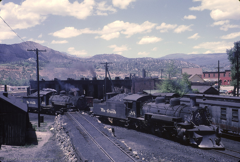 What a view of the Durango facilities!  #488 and #494 are steamed up and ready for action in this June 1962 view.