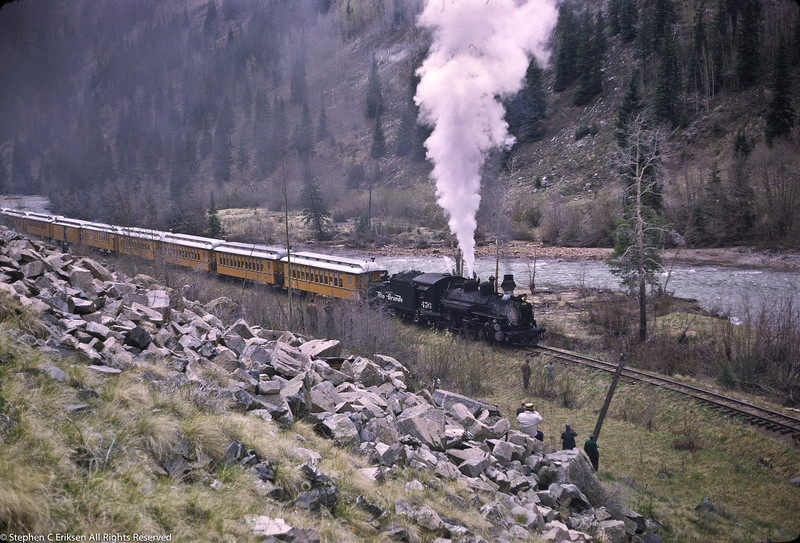 Milepost 496 at Las Animas finds the Silverton train with #476 in the lead.