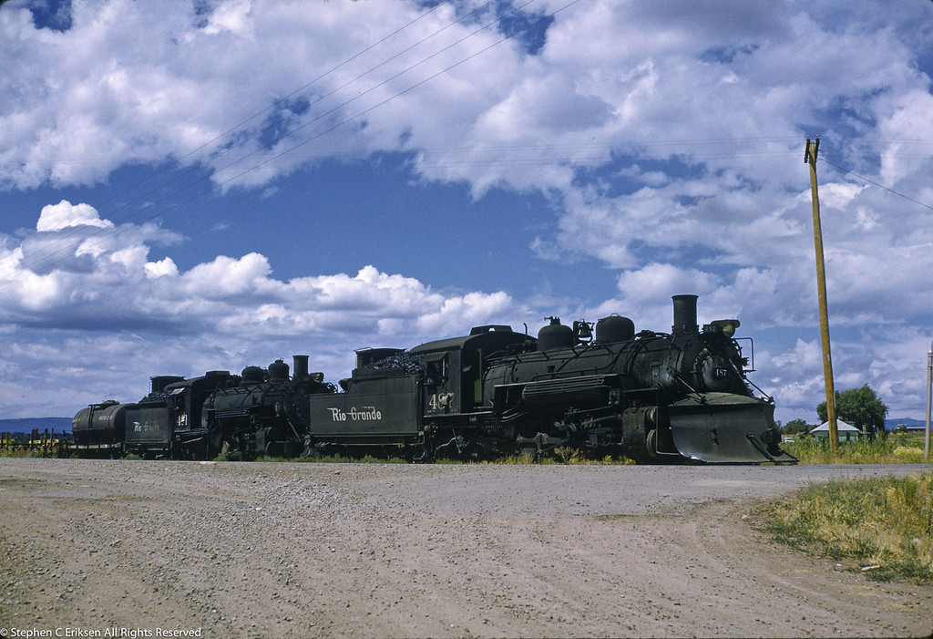 August of 1962 finds 487 and 491 double headed under blue skies.