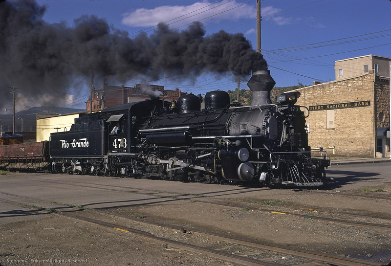 K-28 #473 steams through Durango with an open drop bottom gon in this view from June of 1967.