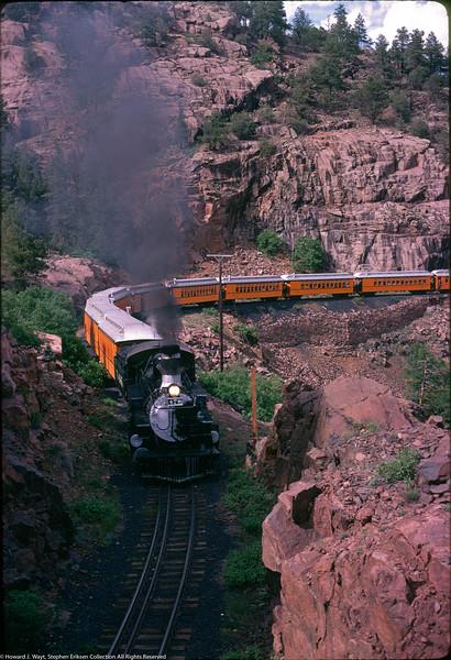 #478 heads through the Animas Canyon toward Rockwood June 2nd, 1969. Photo by Howard J. Wayt.