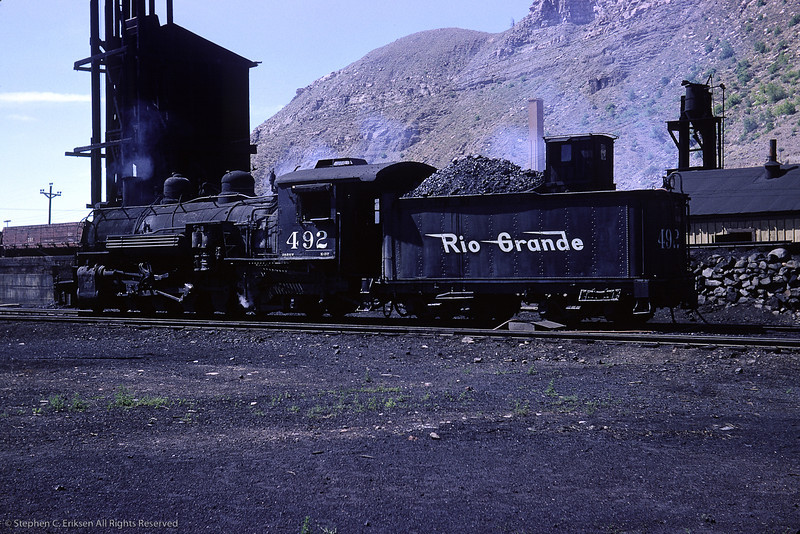 #492 has pulled out of the Durango roundhouse in this view from August of 1964 by Richard Cerne.
