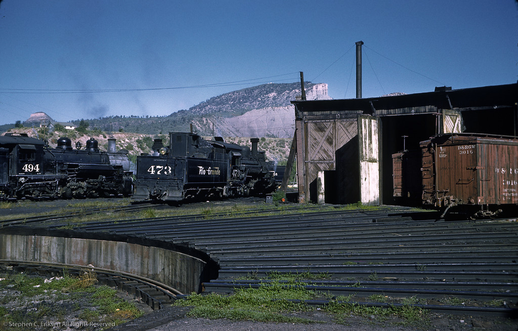 A busy Durango day in September of 1961 with K-28 #473, K-37 #494, and another K-28 in the background.  Note that 473 does not have the fake diamond stack in this view from September of 1961.