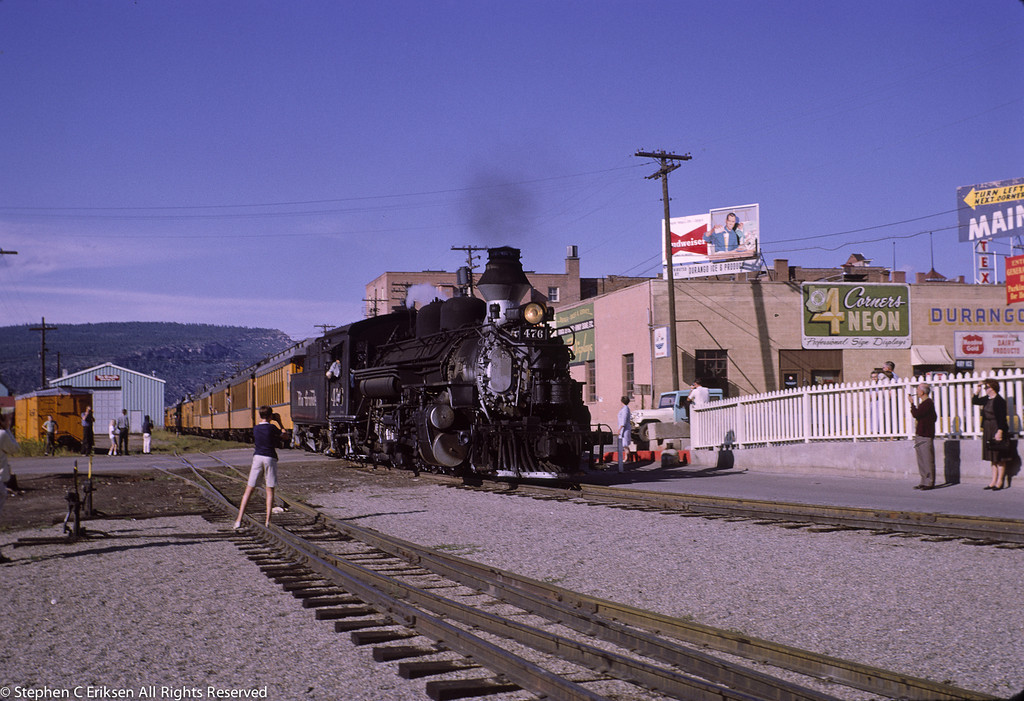 In a scene repeated many times, K-28 #476 returns to Durango in the late afternoon after a round trip to Silverton.  September 1965.