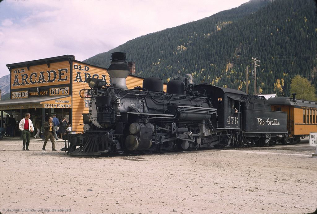 "This classic view from October of 1969 shows K-28 #476 with the ""Silverton"" in its namesake location."