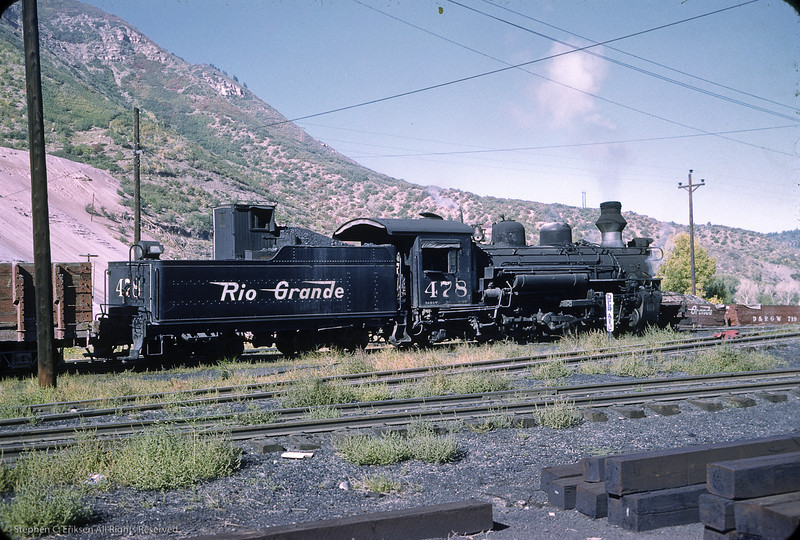 K-28 #478 hauls freight cars around the Durango yard in this view from September of 1961.