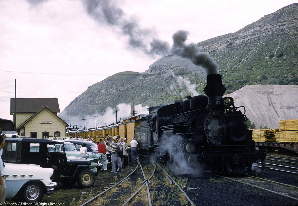 In a scene oft repeated, K-36 #478 waits to depart from Durango with the Silverton in August of 1961, fake stack and all.