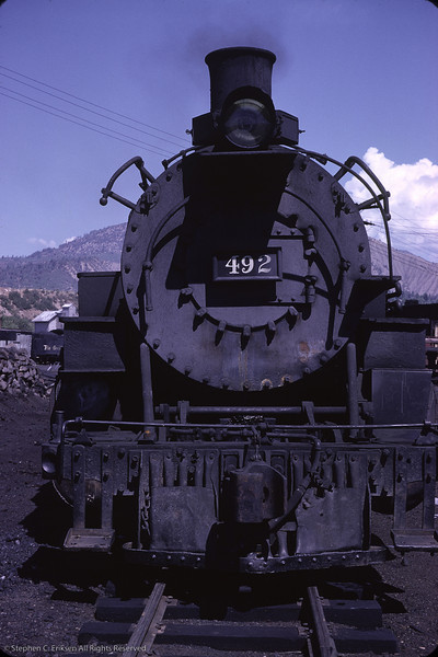 K-37 #492 is ready for action in the Durango yards.  August 1964 photo by Richard Cerne.