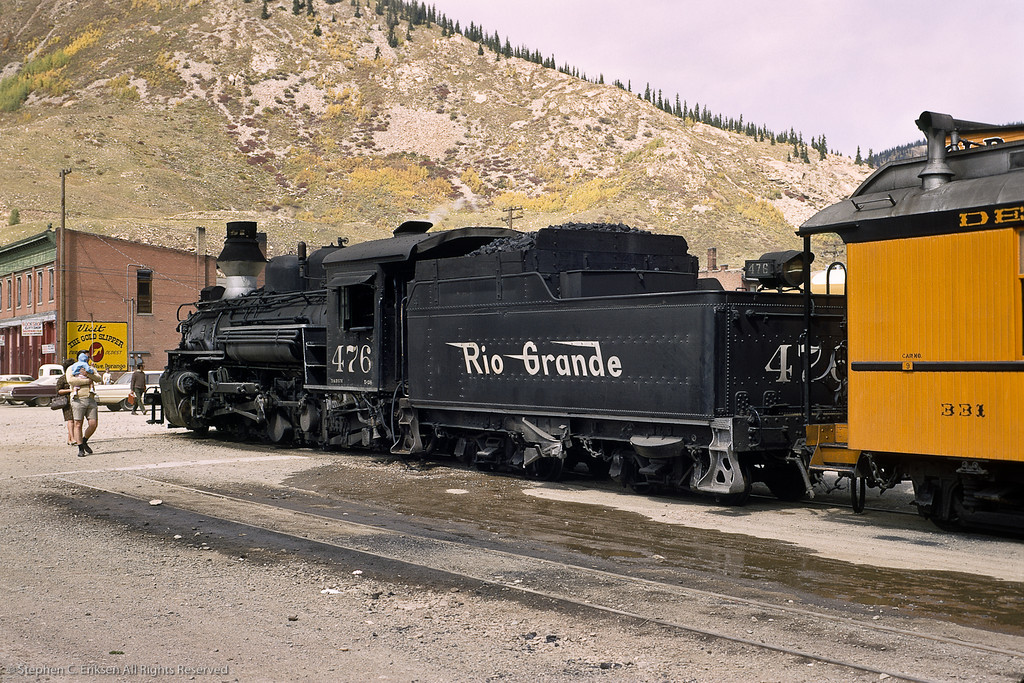 This view from June of 1967 shows K-28 #476 in position in Silverton with steel coach 331 at the head of the consist.