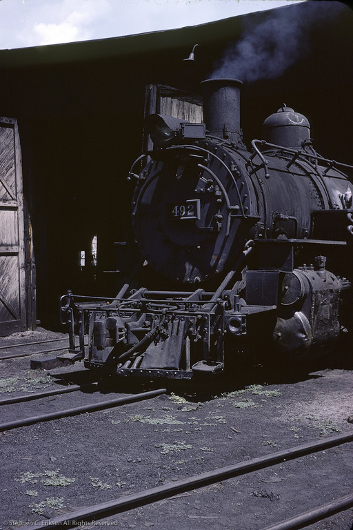 K-37 #492 under steam at the Durango roundhouse.  August 1964 photo by Richard Cerne.