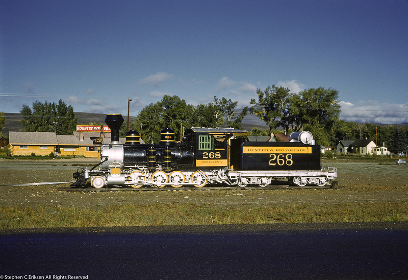 C-16 #268 sits in Gunnison in November of 1961 across the road from the Kountry Kitchen.
