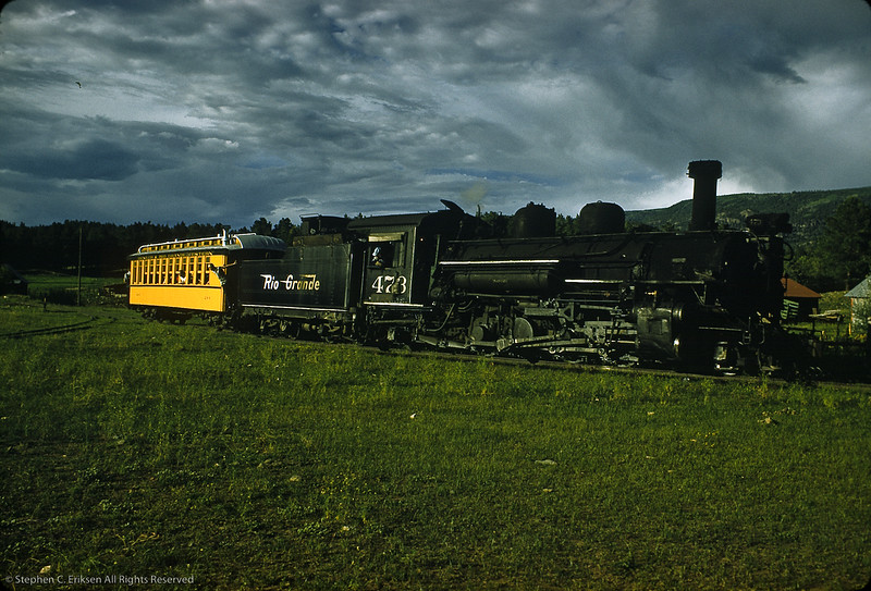 This late afternoon shot shows K-28 #473 with just coach 284 trailing behind it.  Shot was taken in September of 1961.  Love those clouds!
