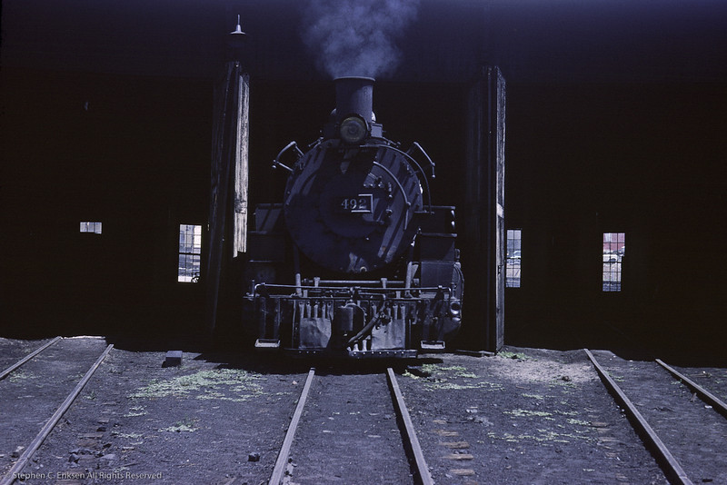 Front view of K-37 #492 at the Durango roundhouse.  August 1964 photo by Richard Cerne.