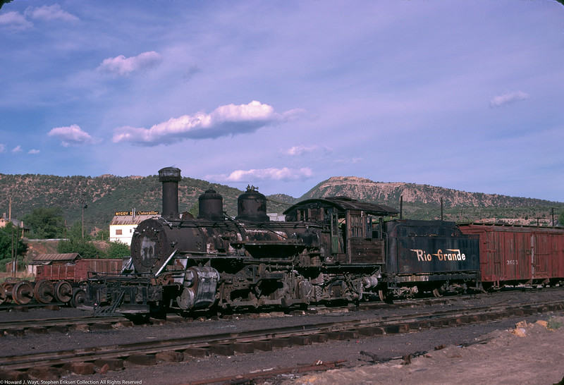 K-27 #464 looks worse for the wear sitting in the Durango yards on June 2nd, 1969. Photo by Howard J. Wayt.