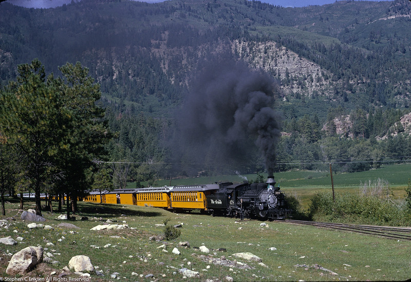 September 1963 view of the Silverton with #478 in the lead near Hermosa, CO.