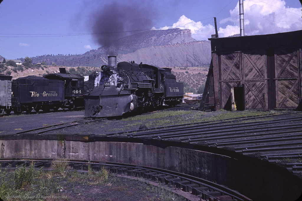 K-36 #484 under steam next to the Durango roundhouse in this view from August of 1964.  Photo by Richard Cerne.