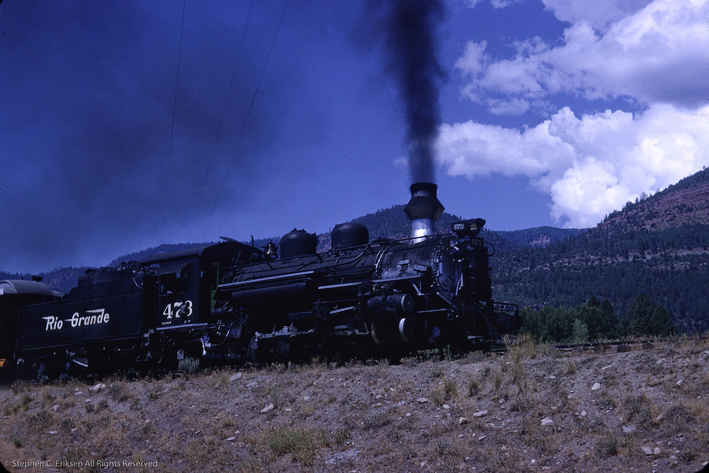 K-28 #473 heads up the grade with the Silverton. August 1964 photo by Richard Cerne.