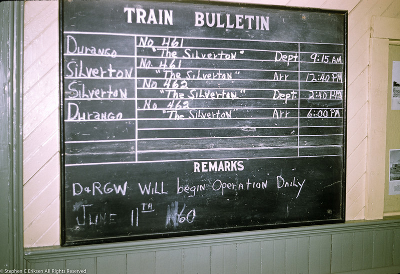 "Shot from July 1960 shows the schedule for ""The Silverton""."