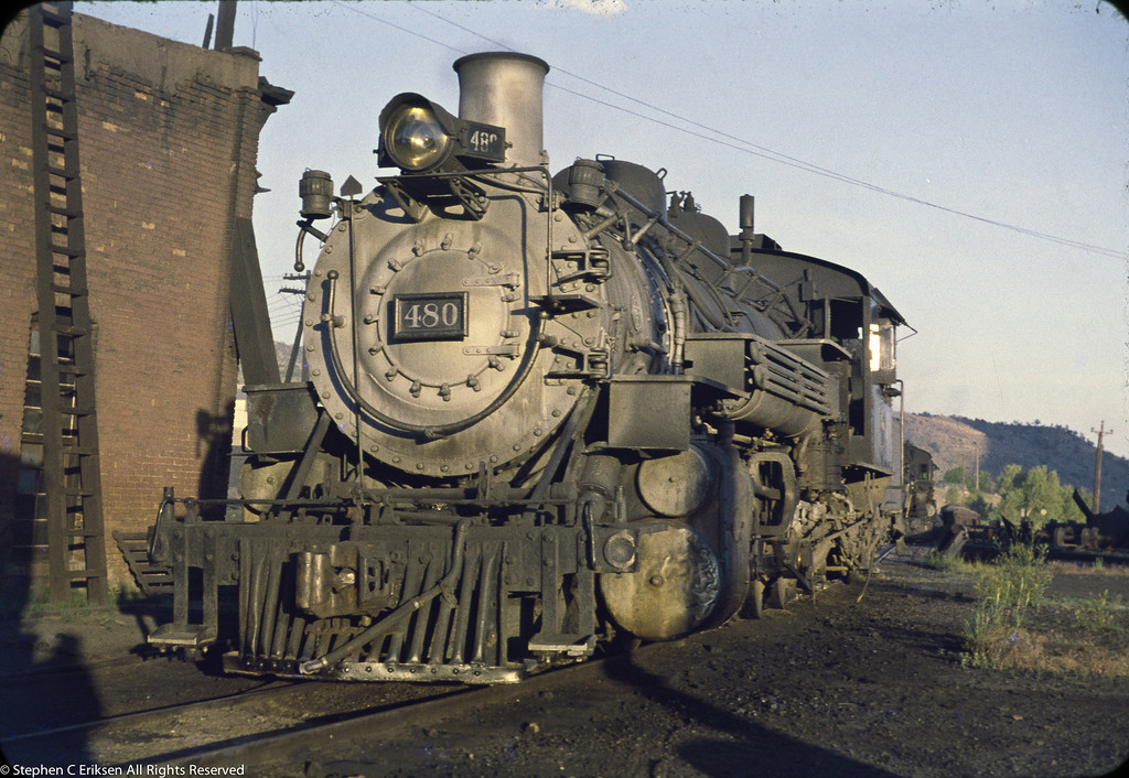 #480 next to the Durango roundhouse in June 1960.