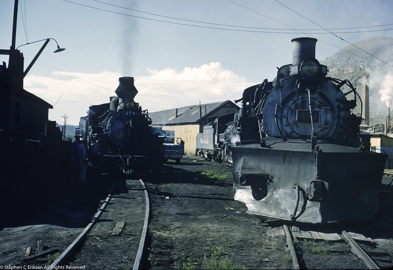 #478 and #483 on adjoining tracks in the Durango yard in August 1962.
