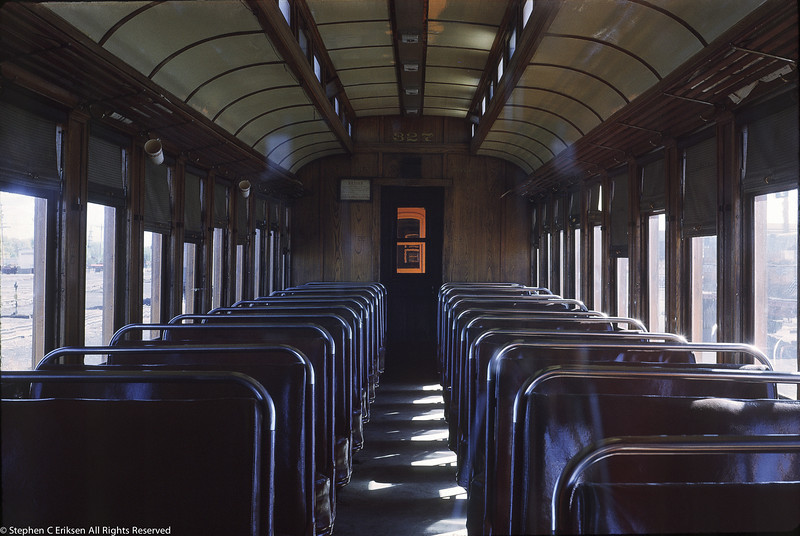 This view of former San Juan coach #327 was taken in October of 1962.  You can ride in this same coach today on the D&SNG.