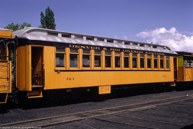 Ex San Juan coach #323 sits in Durango, Colorado.