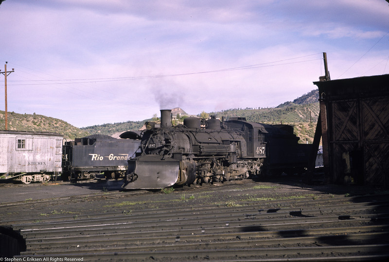 K-36 #487 sits next to the Durango, CO roundhouse with K-27 #464 in the background.