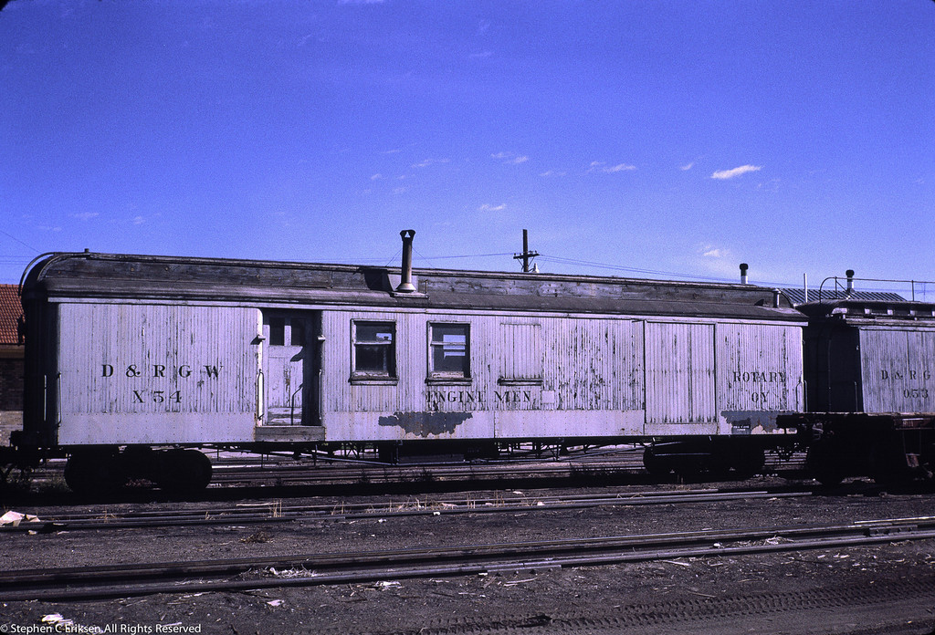 Former RPO, MOW X54 is shown assigned to Rotary OY in this September 1966 view in Alamosa.