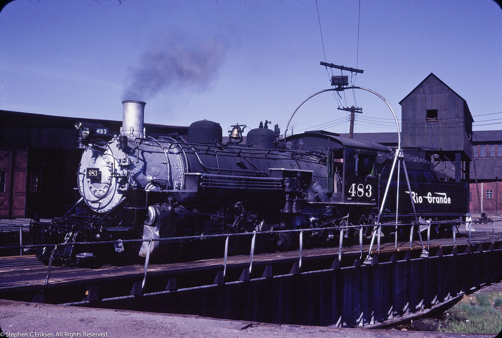 K-36 #483 sits on the turntable in Alamosa on June 19, 1966