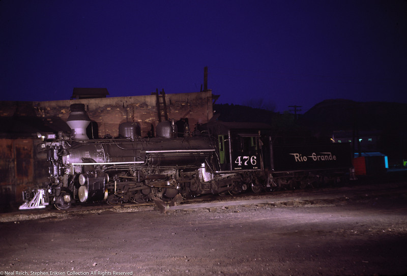 Great night shot on June 6, 1968 of K-28 #476 at Durango, CO